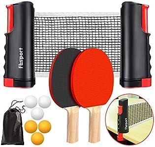 FBSPORT Sets de Ping Pong,Juego de tenis de mesa , juego de ping pong,2 raquetas de tenis de mesa,6 pelotas de ping-Pong,1 red de tenis de mesa retráctil,1 bolsa de malla, para niños adultos
