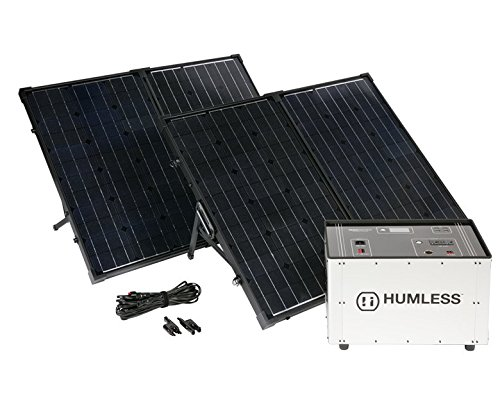 Humless Portable Solar Generator with (2) Foldable 130 Watt Solar Panels for Camping, Hunting, RV, Off Grid, 1.3 kWh Solar Kit