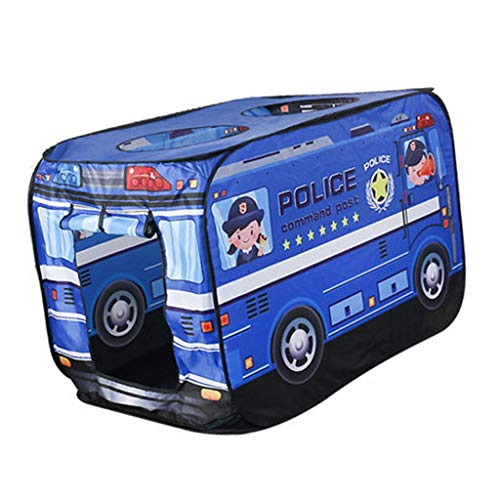Perfeclan Foldable Play Tent Playhouse Pop Up Truck Indoor Outdoor Summer Beach Party Toys - Police Car, 112x72x72cm
