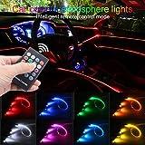 TABEN Luz de Ambiente para Coche RGB Control Remoto Lámpara de luz Decorativa Reparación de Bricolaje Tubo de Fibra óptica Flexible 8 Colores Iluminación Interior Luz de atmósfera 1W DC 12V 6m