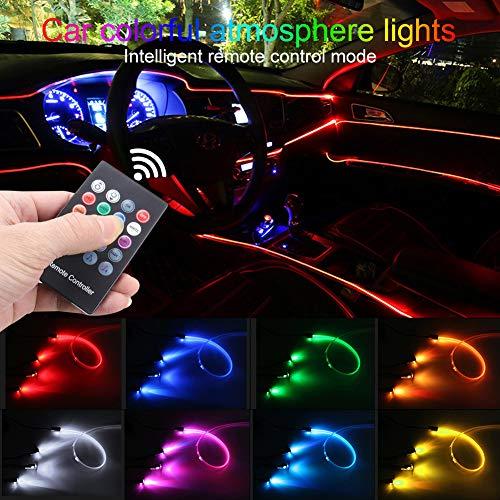 TABEN Luz de Ambiente para Coche RGB Control Remoto Lámpara de luz Decorativa Reparación de Bricolaje Tubo de Fibra óptica Flexible 8 Colores Iluminación Interior Luz de atmósfera 1W DC 12V 4m