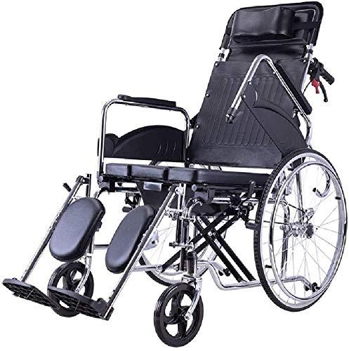 XXY.XXY Rollstuhl Rollstuhl Tragbarer Transport Zusammenklappbarer tragbarer Reisestuhl Ältere Menschen Behinderte Kinderwagen Roller Töpfchen Multifunktionsvoll Liegendes Gehhilfsmittel