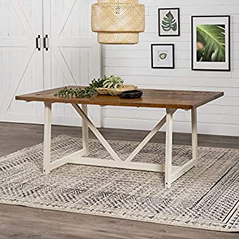 Walker Edison 4 Person Modern Farmhouse Wood Small Room Kitchen Table Set Dining Chairs 72 Inch Rustic Oak/White Wash