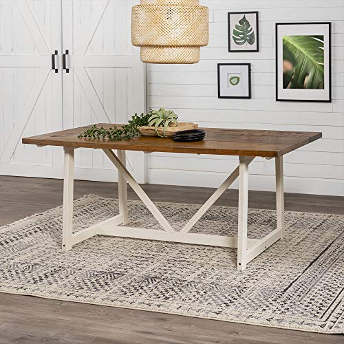 Walker Edison 4 Person Modern Farmhouse Wood Small Dining Table Dining Room Kitchen Table Set Dining...