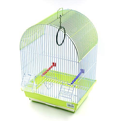 Jaula para pájaros con comederos, Palos y Columpios Jaulas pájaros casa Ave 34.5X28X49.5CM (Verde)