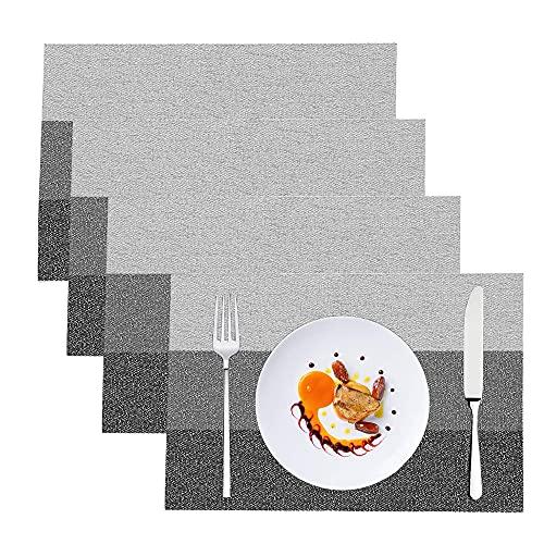4 Piezas Manteles Individuales, Tapetes Lavables para Mesa de Comedor, Manteles Individuales de PVC, para Mesa de Comedor, Restaurante, Cocina, Hotel, Cafetería (Negro-Gris)
