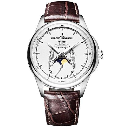 CHRONO UNIVERSEL orologio automatico Moonphase quadrante bianco, grande...