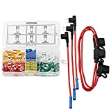 DIGITEN Mini Fuse Kit Automotive Mini Blade Type ATM Fuse Assorted + Inline 16 AWG Gauge Holder+ Add-a-circuit TAP Adapter