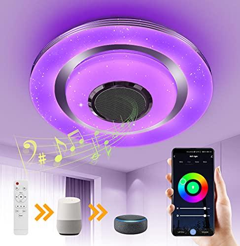 OTREN Lampada da Soffitto a LED Alexa con Altoparlante Bluetooth, RGB Plafoniera LED con Telecomando e Controllo APP, Dimmerabile Lampadario Moderno Compatibile con Alexa Google Home