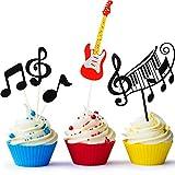 8 Piezas Tarjeta de Magdalena de Notas Musicales, Topper de Tarta de Guitarra, Suministros de Fiesta de Cumpleaños de Tema Musical