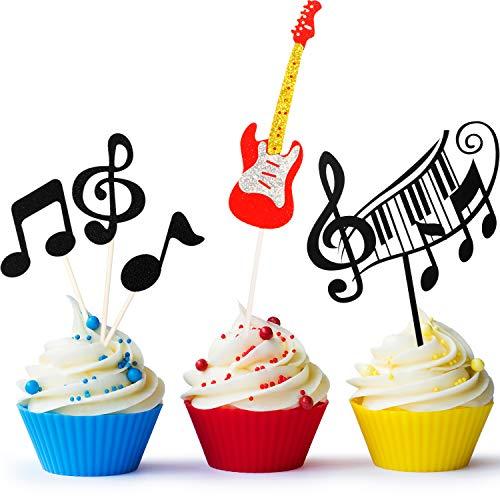 8 Stücke Musik Noten Cupcake Toppers, Gitarre Kuchen Toppers, Musikalisches Thema Geburtstag Party Bedarf