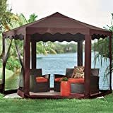 BrylaneHome New and Improved Waterproof 13'W Hexagon Gazebo...