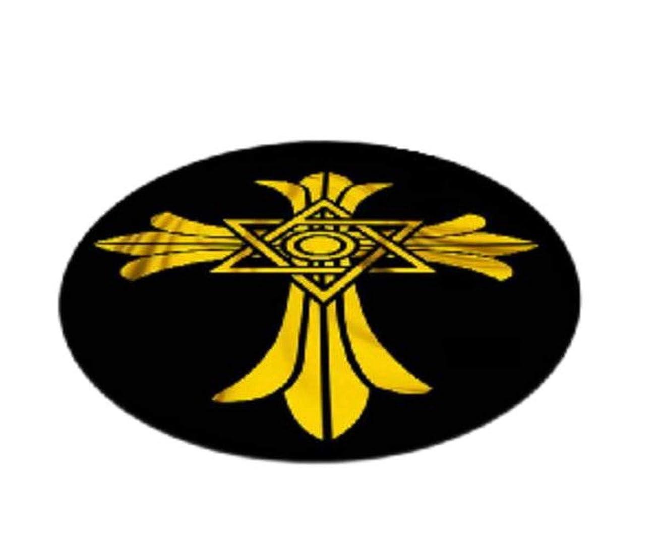 吸うカーフベル【MarieAnge】 インテリア マット ラグ カーペット 十字 クロムハーツ柄 絨毯 円形 No.2SS-495 (140㎝)