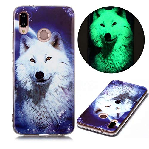 Miagon Leuchtend Luminous Hülle für Huawei P30 Lite,Fluoreszierend Licht im Dunkeln Handyhülle Silikon Case Handytasche Stoßfest Schutzhülle,Weiß Wolf