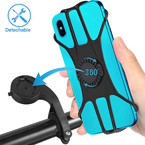 Idefair Fahrradhalter, um 360 ° drehbare, abnehmbare Fahrradtelefonhalterung Universeller Silikon-Motorradlenkerständer für iPhone Samsung Galaxy