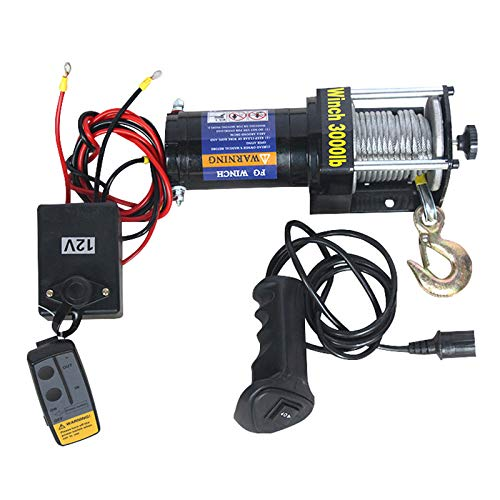 XZZ Cabestrante EléCtrico De 12v / 24v, Cabrestante Eléctrico IP67 A Prueba De Agua, con Control Remoto Inalámbrico De Mano Y Recuperación De Control con Cable (3000LBS / 4000LBS / 6000LBS)