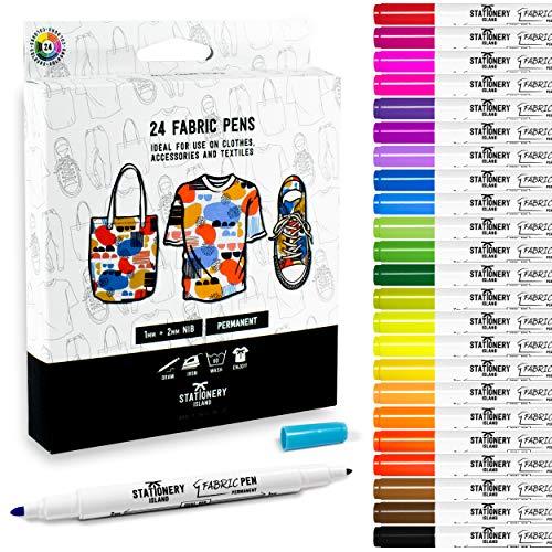 Stationery Island Textilstifte in 24 Farben – 1 und 2 mm Spitzen. Waschmaschinenfeste Permanent Stoffmalstifte mit Filzspitzen. Für Textilwaren (T-Shirts, Jeansstoff, Stofftaschen und Leinwände)