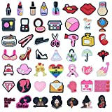 50Pcs Cosmetic Makeup Shoe Charms for Croc/PVC Clog Sandals Decoration Wristband Bracelet, Lipstick High Heels Rose Eye Shadow Shapes Charm for Kids Girls Women Make Up Party, Birthday Festival Gifts