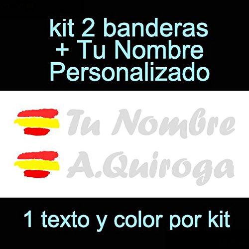 Vinilin Pegatina Vinilo Bandera España + tu Nombre - Bici, Casco, Pala De Padel, Monopatin, Coche, Moto, etc. Kit de Dos Vinilos (Plateado): Amazon.es: Deportes y aire libre