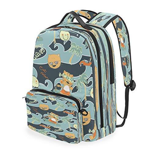 Cute Kitty Cat Mice Shoulder Backpack Messenger Crossbody Laptop Bag Student Bookbags for Kid Girls Boys