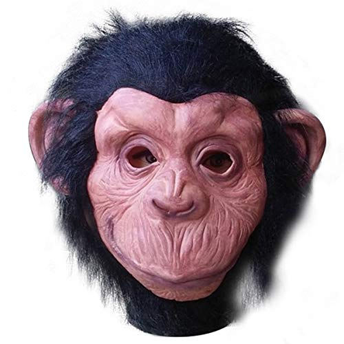 Yaskitao Orangutan Animal Mask, Deluxe Novelty Gorilla Mask Halloween Animal Costume Full Head Mask, Latex Animal Gorilla Costume Mask Black,Large