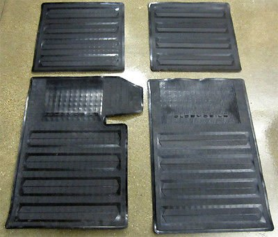 The Parts Place Oldsmobile Cutlass / 442 Set Of 4 Black All Rubber Floor Mats