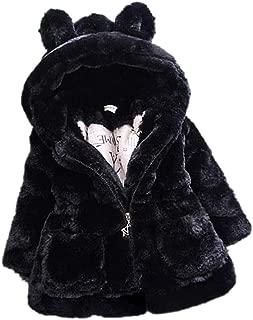 SITENG Baby Little Girls Autumn Winter Fleece Coat Kids Faux Fur Jacket with Hood Thick Outwear Warm Overcoat
