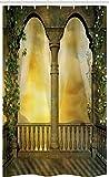 ABAKUHAUS Fantasie Schmaler Duschvorhang, Mystische Märchen Balkon, Badezimmer Deko Set aus Stoff mit Haken, 120 x 180 cm, Gelb Grün Hellbraun