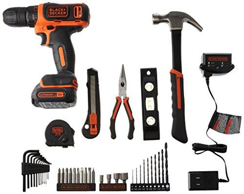 BLACK+DECKER 12V Drill & Home Tool Kit, 42 Piece (BCPK1249C)