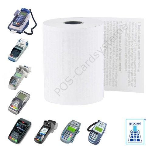 20 EC-Cash Thermorollen im Karton 57mm x 18m x 12mm für EC-Gerät Ingenico ICT 220 mit Lastschrifttext ELV