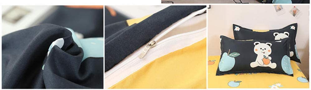BEDASOFT Drap de lit en Tissu Doux 4 pièces Linge de lit et oreillers Couette été Fine et Légère | Douceur et Confort | Lavable | Enveloppe Microfibre Ours 220x240cm Black