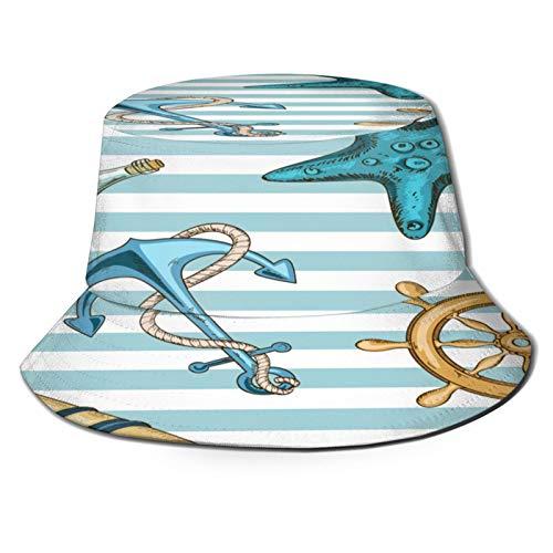 Sombrero de Pesca,Rueda de Ancla náutica de Patrones sin Fisuras con Rayas,Senderismo para Hombres y Mujeres al Aire Libre Sombrero de Cubo Sombrero para el Sol