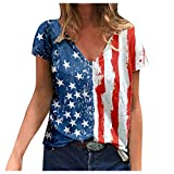 Sdoveb Womens Tops Patriotic Red White Blue Striped Stars T-Shirts V-Neck Blouse Summer Casual Tunic Tops (Multicolor, M)