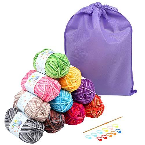 LIHAO 10 x 50G Lanas para Tejer Ovillos de Lana Multicolor Estambre Acrílico Algodón con Bolsa de Almacenamiento