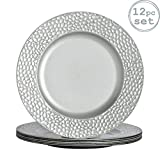 Argon Tableware Round Charger Under Plates in Hammered Silver - 330mm - Pack of 12