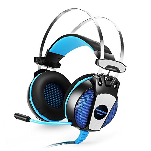 Kotion Each GS500 Gaming Headset 3.5mm Wired Over Ear Stereo Headphones with Microphone for PS4/Notebook/Laptop - Blue