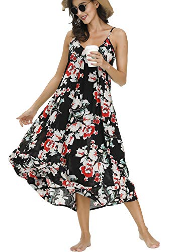 BUENOS NINOS Women's V Neck Floral Maxi Dress Boho Printed Adjustable Spaghetti Strap Ethnic Beach Long Dress with…