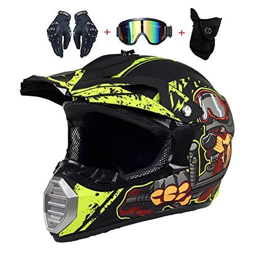 LEENY Motocrosshelme Cartoon Hund Motorrad-Off-Road-Helm Kinder Crosshelme Set mit Handschuhe/Maske/Brille, Motorradhelm Herren Damen Schutz-Helm Downhill Enduro ATV MTB BMX-Helm,S(52~53cm)