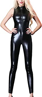 Sexy PVC Leather Lingerie Sexy Ladies PVC Leather Faux Leather Zipper Skinny Long Legging PVC Cosplay Costume Playsuit Bod...