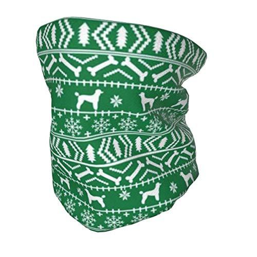 Bandana protectora para el cuello con protección UV para niños, caniche Fair Isle Christmas Dog lavable reutilizable cara cubierta antipolvo viento pasamontañas para pesca senderismo