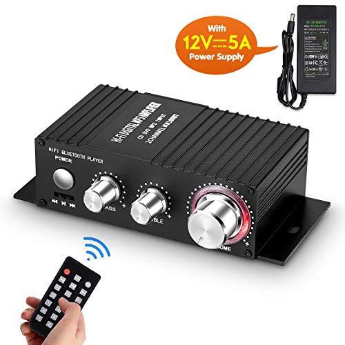 Mini Bluetooth audio versterker ontvanger stereo eindversterker remote USB muziekspeler met voeding
