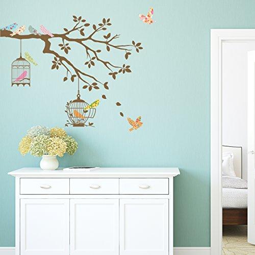 DECOWALL DW-1510BR Vögel Zweig Baum Vogelhäuser Vogelkäfigen Tiere Wandtattoo Wandsticker Wandaufkleber Wanddeko für Wohnzimmer Schlafzimmer Kinderzimmer (Braun)