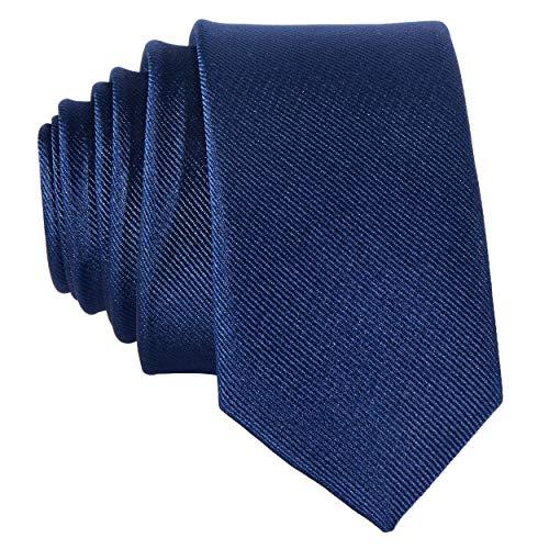 DonDon Corbata estrecha 5 cm de color azul marino - hecho a mano
