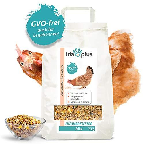 Ida Plus - Hühnerfutter Mix 5 Kg - Ausgewogenes Alleinfutter – Ganzjahresmischung - GVO-frei auch für Legehennen - Bestens für Futterautomaten geeignet - Enthält Calcium und Vitamine 5 Kg