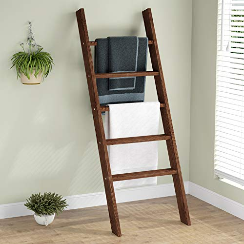 Ladder Shelf Blanket Ladder Wall-Leaning Decorative Ladder Quilt Rack, Tribesigns 55.1' Stand Wood Ladder Rustic Brown for Living Room, Kitchen, Office Easy to Assemble