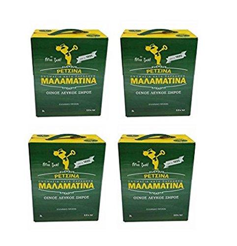 4x3 L Retsina Malamatina Bag in Box mit Zapfhahn geharzter Weißwein aus Griechenland - griechischer traditioneller Weiß Wein mit Harz im Karton 4er Pack Spar Set + 2x2g Probiersachet Frappe