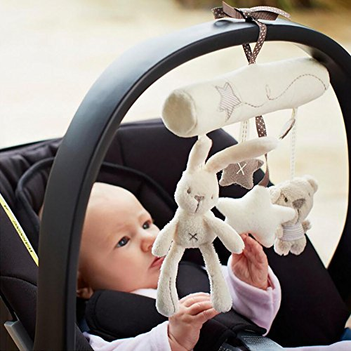 NeatoTek Baby Hanging Rattle Toys Soft Baby Music Plush Activity Crib Stroller Toys Rabbit Star Shape for Toddlers Baby Girls Baby Boys