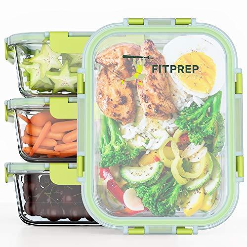 FITPREP® Frischhaltedosen aus Glas 8 teiliges Set [ 4 Vorratsdosen + 4 Deckel mit 880ml ] Premium Glasbehälter mit Lifetime Lasting Deckel - perfekt für Meal Prep