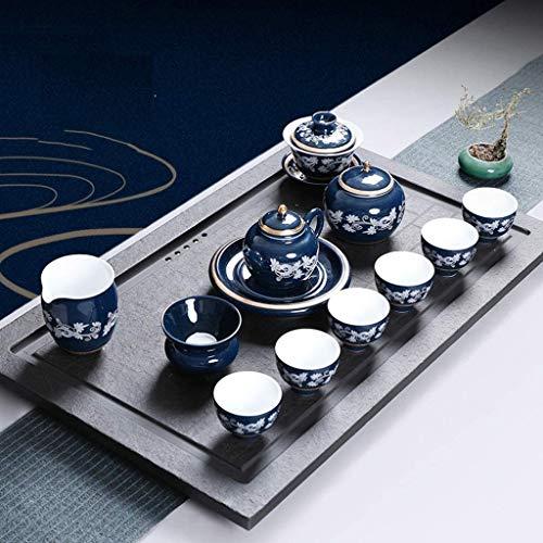 Tcbz Exquisito Juego de té de cerámica de Kungfu Hecho a Mano, Taza de té con Tapa, Cuenco de cerámica para té de Mediados de otoño, procelaint Azul y Blanco para el hogar