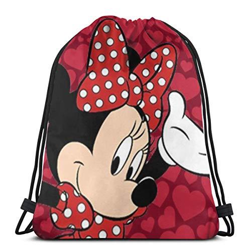 DNBCJJ Bolsa clásica con cordón rojo Minnie Mouse, mochila de gimnasio, bolsa de almacenamiento para hombres y mujeres